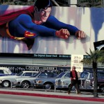 Christopher Reeve as Superman over the Sunset Strip in West Hollywod, CA during the heyday of the classic billboards in the area. - Photo: Robert Landau