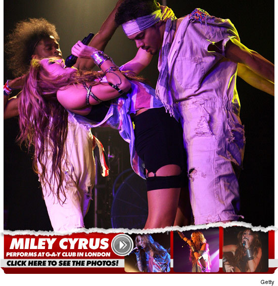 "TMZ reports that ""17-year-old Miley Cyrus performed at London's famous G-A-Y ..."