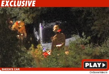 Charlie Sheen's Mercedes Down Embankment. Click for TMZ Video.
