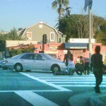 Scene of accident involving a vehicle that hit a homeless man and his cart. (photo: Anna Stimson for Weho Daily)