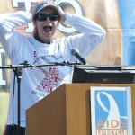 "Actress Jane Lynch, from television's ""Glee"" speaks during the closing ceremony of the 10th annual AIDS/LifeCycle, the seven day, 545 mile ride from San Francisco to Los Angeles, Saturday, June 11, 2011 in Los Angeles. Over 2,350 bicyclists raised more than $13 million for funds for the HIV/AIDS related services of the L.A. Gay & Lesbian Center and San Francisco AIDS Foundation. (Photo: AIDS/LifeCycle, Susan Goldman)"