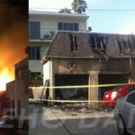 A large fire gutted a garage on Fountain on Tuesday night. (Photos: David Begnaud and Justin Robby for Weho Daily)