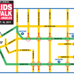 Map of street closures for Aids Walk LA on October 16, 2011.