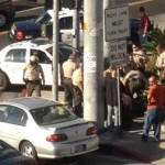West Hollywood Sheriffs deputies take a suspect into custody after a deputy-involved fight.