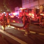 Fire Department personnel working an arson fire on Sweetzer. (Photo: Ryan Walls for Weho Daily)