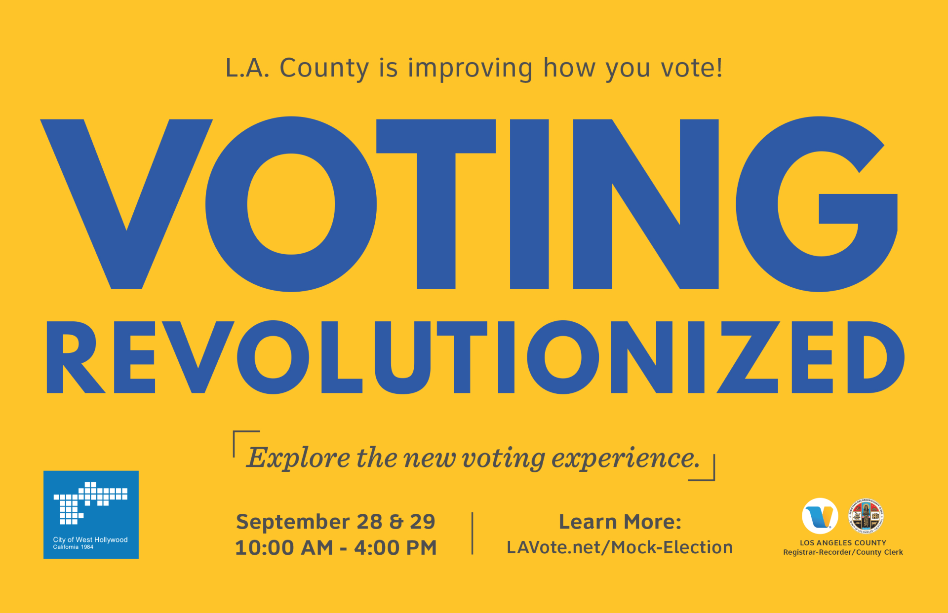 City to Host LA County Mock Election Event at Plummer Park the Weekend of September 28