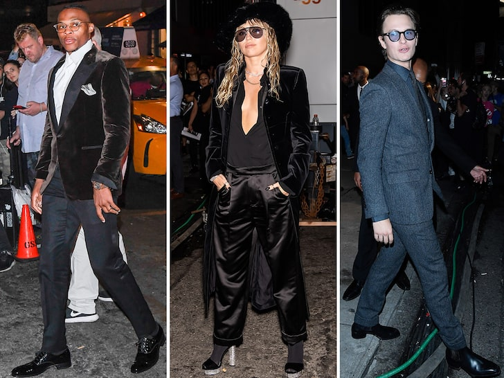 Miley Cyrus, Russell Westbrook Glam Up at Tom Ford's NYFW Show
