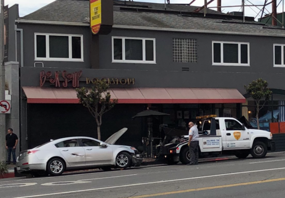 Car demolished a parklet on Sunset in front of BookSoup (credit: Alain Benatar for WeHoDaily)