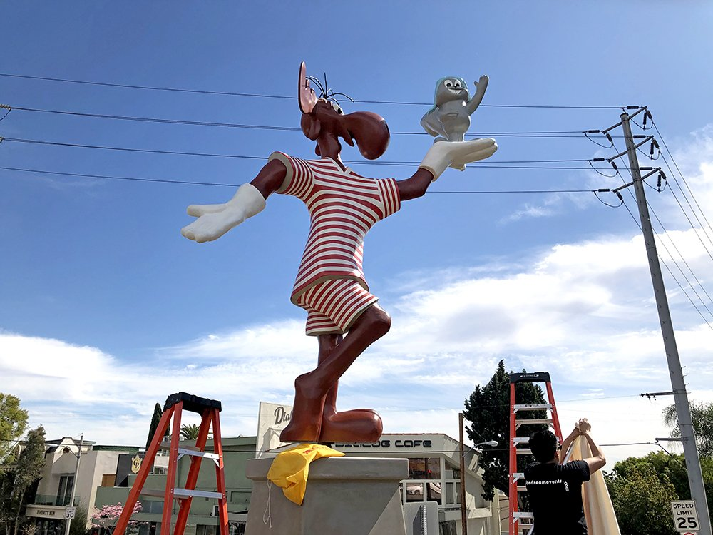 Rocky and Bullwinkle Statue Returns Home to the Sunset Strip