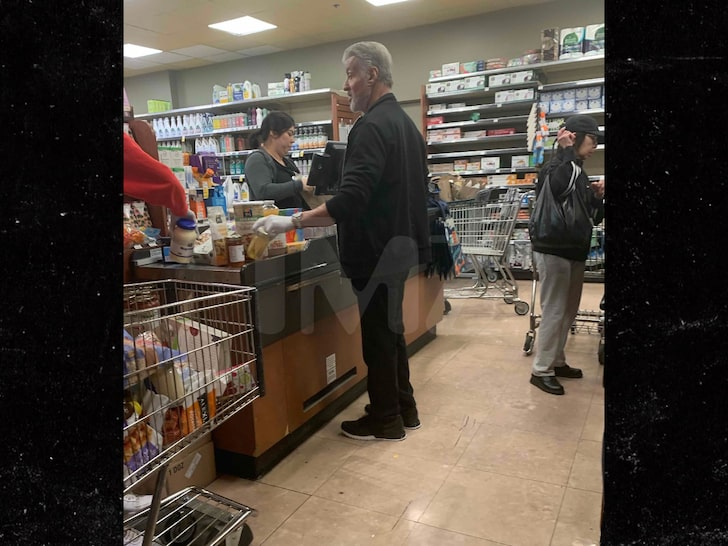 Sylvester Stallone Wards Off Coronavirus with Latex Gloves While Shopping